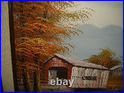 Original Michaelson Oil Painting On Board Covered Barn Bridge Country Decor
