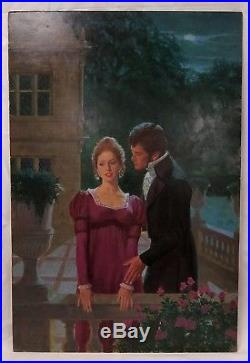 Original Pulp Book Cover Art Illustration Darrell Greene Man & Woman on Balcony