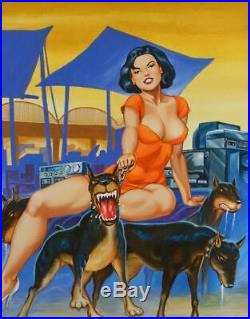 Original Pulp Mexican Cover Art Hot Latina Girl Female Woman Pinup Painting