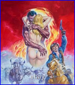 Original Pulp Mexican Cover Art Nude Blonde Girl Female Woman Pinup Painting