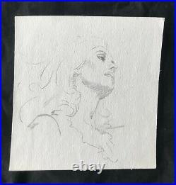 Original SIGNED pencil portrait c. 1960s ROBERT MAGUIRE paperback cover artist