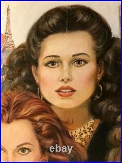 Original Signed Published Pulp Paperback Cover Illustration Art Painting 4 Women