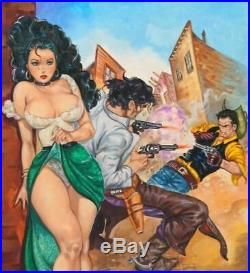 Original Western Pulp Illustration Mexican Cover Art Girl Woman Pinup Painting
