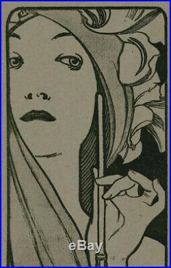 Original Woodcut Alfons Mucha L'Estampe Moderne 1897 Issue 1 Portfolio Cover