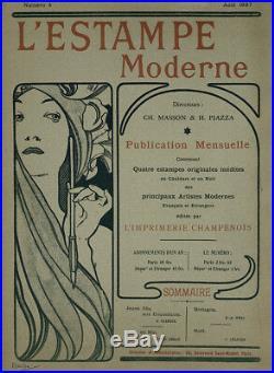 Original lithograph Alfons Mucha L'Estampe Moderne 1897 Issue 4 Portfolio Cover