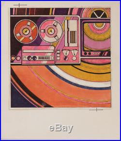 Original mid-1970s record cover design, watercolor by Norfried Grzegorzewski