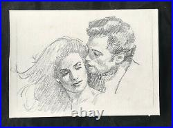 Original pencil portrait c. 1970s by ROBERT MAGUIRE pulp paperback cover artist
