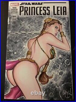 PRINCESS LEIA #1 SLAVE STAR WARS BIKINI Sketch Cover Original Art NEW HOT