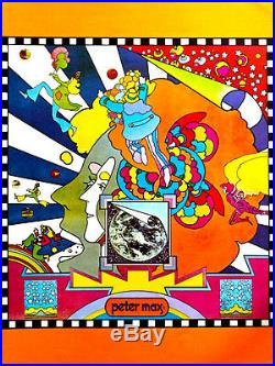 Peter Max Moon Landing Poster Cover Psychedelic Book Cover Original 1969