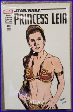 Princess Leia #1 Star Wars Blank Sketch Cover Original Art Comic Book Marvel B