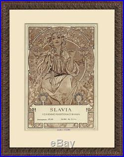 RARE Original before 1907 SLAVIA Insurance Certificate Cover Alphonse Mucha