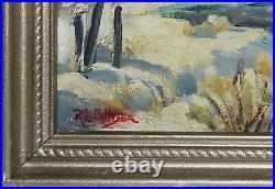 ROBERT PALLISER-NY Impressionist-Original Signed Oil-Snow Covered Woods/Creek