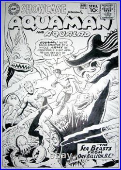 Ramona Fradon Signed Original Art Cover Recreation Showcase #31 Aquaman Aqualad