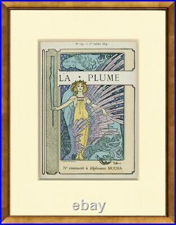 Rare, Original 1897 La Plume Cover Alphonse Mucha, Custom Framing