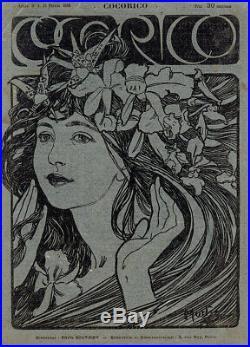 Rare Original 1899 Cocorico No. 4 Cover, Black over Metallic Silver Alfons Mucha