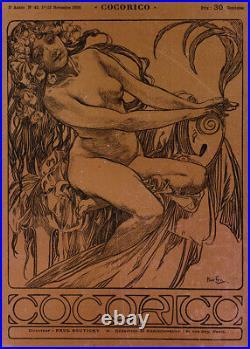 Rare Original 1900 Wood Block Print Cocorico No. 42 Cover, Alfons Mucha