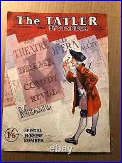 Rare Original Mid-Century Magazine Cover Illustration Art Theater The Tatler