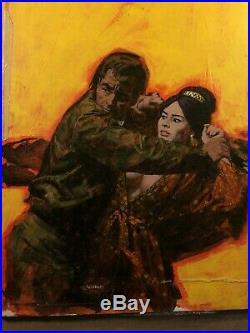 Rare Original Provocative Pulp Illustration Art Painting Paperback Cover 1960s