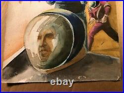 Rare Original Sci Fi Illustration Art Painting Poss Book Cover Nik Puspurica