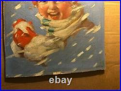 Rare Original Signed Published Illustration Art Painting Magazine Cover Snow 20s