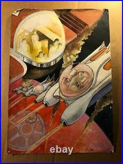 Rare Original Signed Sci Fi Illustration Art Poss Book Cover Nik Puspurica'79