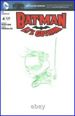 Robin Original Art Sketch by Dustin Nguyen on Batman Lil Gotham #4 Blank Cover