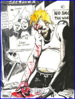 SIMON BISLEY original art, HELLBLAZER #268 preliminary Cover, 8.5x12, Bloody ell