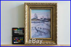 SNOW-COVERED BRIDGE landscape by Alexander VOLYA, Original oil RUSSIAN Painting