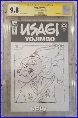 STAN SAKAI Usagi Yojimbo 1 ORIGINAL ART CGC 9.8 signed cover blank sketch tmnt 2
