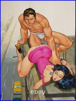 Sexy Babe Curvy Leggy Hunk Beefcake Young Couple Original Mexican Cover Art