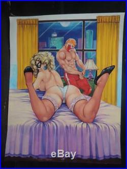 Sexy Pin Up Girl And Wrestler Original Mexican Cover Art