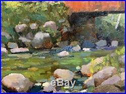 Shane Harris Original Oil Painting Impressionist Summer Covered Bridge