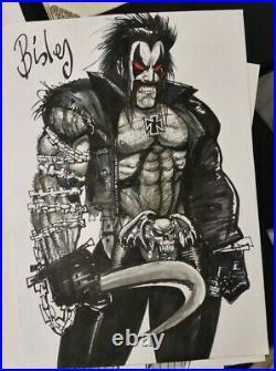 Simon Bisley Rare Full Figure Lobo 12 x 16.5 Original Art Sketch DC Batman Flash