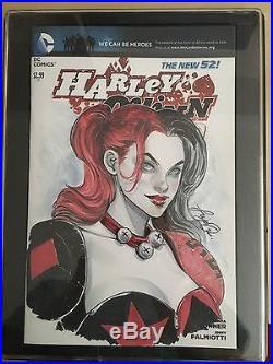 Siya Oum Convention Sketch Cover Original Art Harley Quinn DC Comic Con