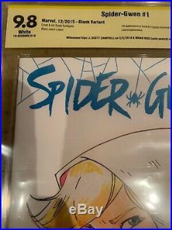 Spider Gwen 1 Blank CBCS 9.8 Signed By J Scott Campbell Original Art Hess 2018