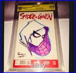 Spider-gwen #1 Blank Cover Original Art David Finch Cbcs 9.8 Ss