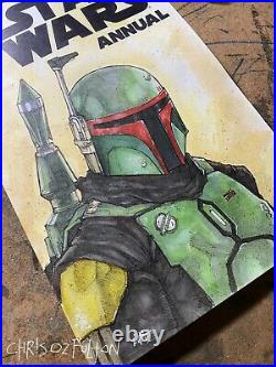 Star Wars Annual #1 Boba Fett Sketch Cover Variant Original Art Chris Oz Fulton