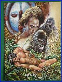 TARZAN Gorilla UNIQUE Beautiful MEXICAN ORIGINAL COMIC COVER ART VERY RARE