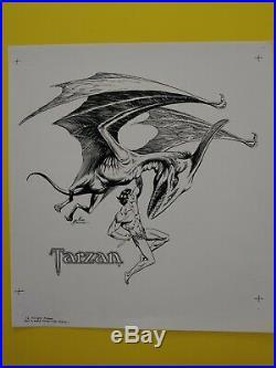 Tarzan vs. The Mahar original production art cover 1977 Russ Manning
