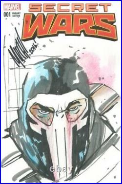 The Punisher Original Art Sketch by Mitch Gerads on Secret Wars #1 Blank Cover