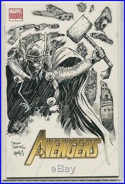 Thor Original Art by Declan Shalvey Avengers #1 blank sketch cover cgc cbcs