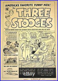 Three Stooges Original Cover Art #1 1953 FVF 15 x 21 Maurer