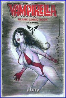 Vampirella Blank Comic Book Sketch Cover Nathan Szerdy SIGNED with Original Art