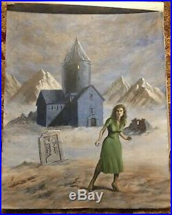 Vintage VTG Original Art Painting Mystery Romance Book Cover Signed David Burton