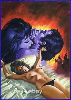 Vintage original Italian art painting comic cover (Biffignandi Taglietti style)