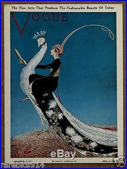 Vogue Magazine Cover Peacock Fashion 1911 Art Deco Original 1960s Card Print