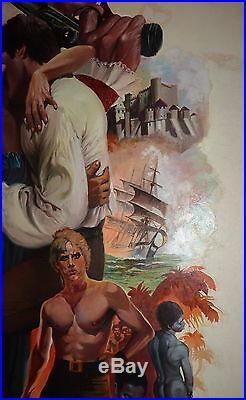 Vtg The Captive Heart Romance Novel Book Cover Art Pirate Sexy Lady Man Ships f