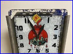 Vtg Ultra Rare Art Deco Sherwin Williams Cover The Earth Rog Lighted Clock Sign