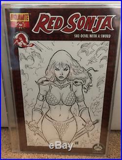 WALTER GEOVANI Red Sonja #25 Sketch Cover Original Art