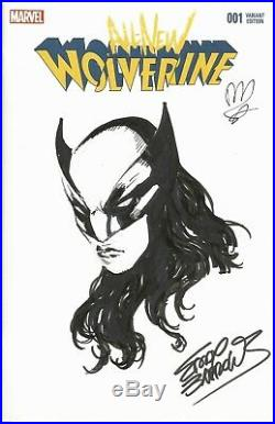 X-23 Original Art Sketch Cover By Eddy Barrows & Signed By David Lopez Cbcs 9.8